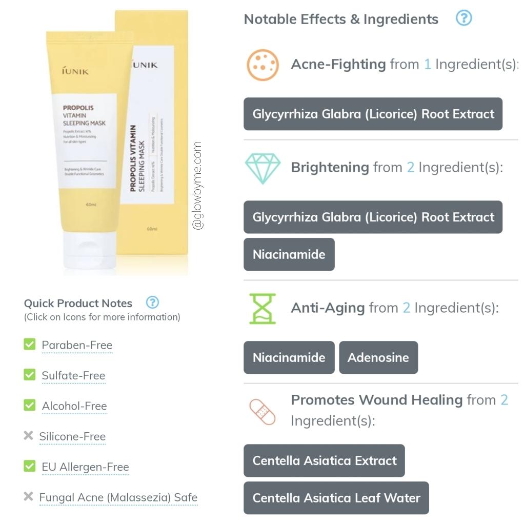 Full review at https://glowbyme.home.blog/2019/05/31/iunik-propolis-vitamin-sleeping-mask/